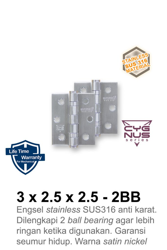 3x2,5x2,5 2BB SUS316